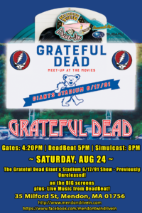 Saturday August 24, 2019 – DeadBeat: 2019 Grateful Dead Night~Mendon Twin Drive-In!!